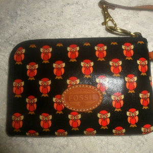 NEW Fossil Black Coral Owl Print Wallet Wristlet